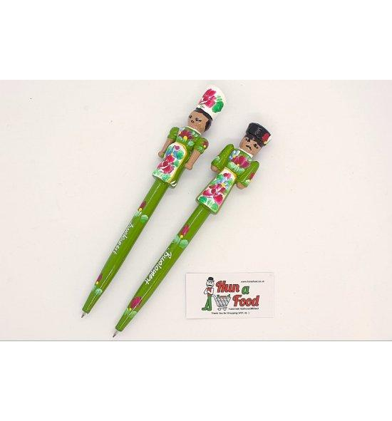 Pen hand painted wood with female or man figure in traditional costume